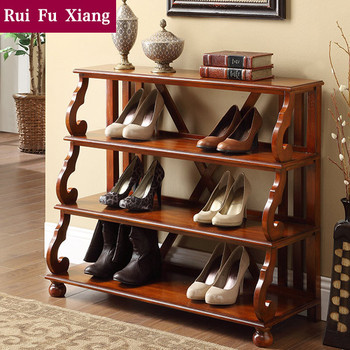 Vintage Style Wood Shoe Rack Shelf With Classic Handmade Carving Am