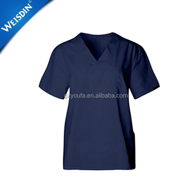 V-neck top 6 Pockets drawstring short-sleeve pants scrubs uniforms medical scrub suit with different colors