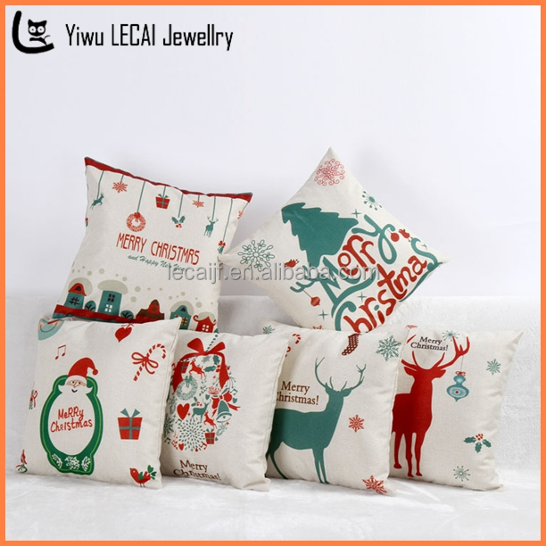 Christmas Pillowcase Soft Cream Color Burlap, Christmas <strong>Decoration</strong>/Reindeer/Santa/Snowman, Lots Of Styles Gift 6 Items
