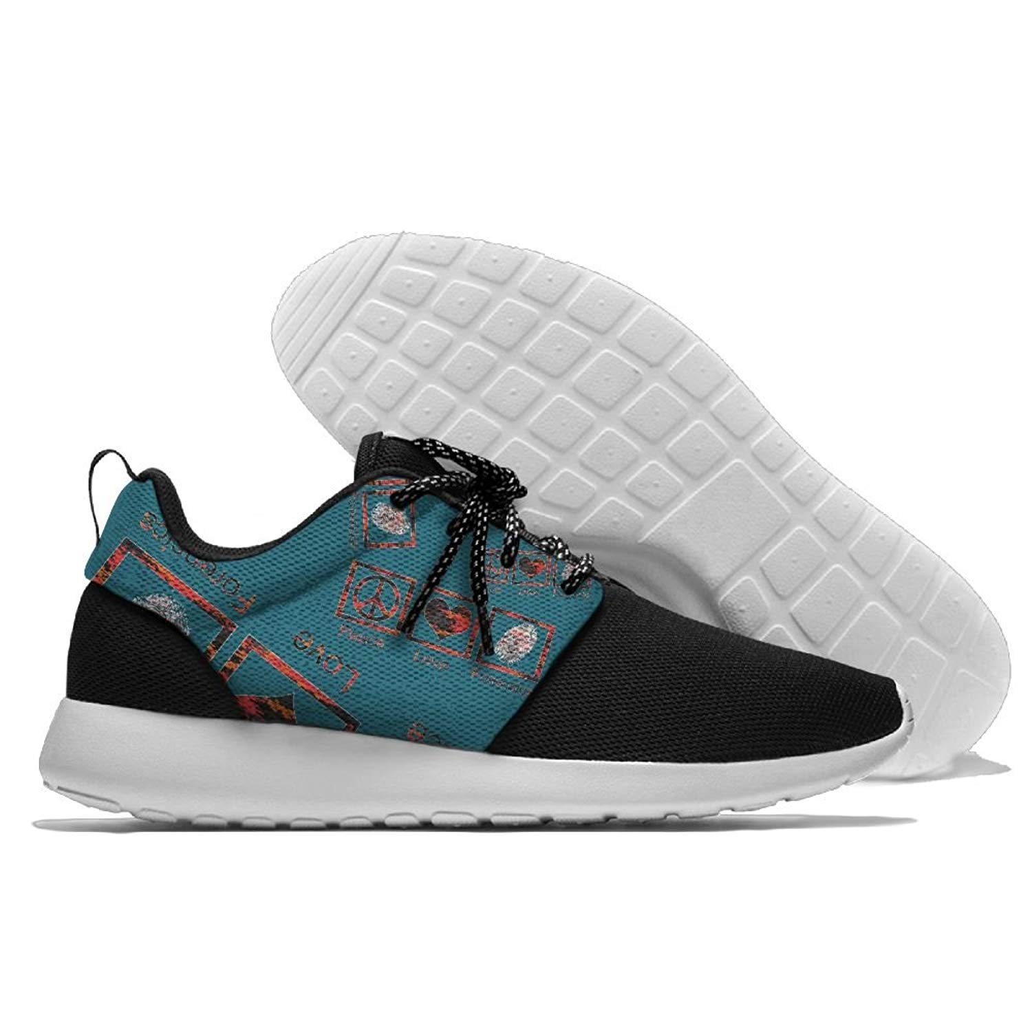 Peace Love Forensics Mens Print Lightweight Sport Shoes Fashion Breathable Sneaker Running Shoes