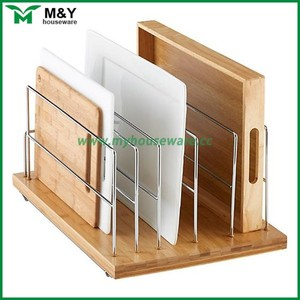 new design bamboo wood kitchen cabinet organizer with non-slip rubber