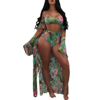 Flower print long sleeve shirt sexy summer beach 3 pieces strapless bodysuits romper shorts women blouse cover up