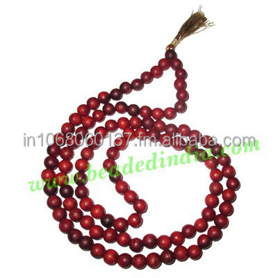 Red Sandal Wood Beads Mala, Holy Wood Beads-Seeds String (mala), size: 8mm