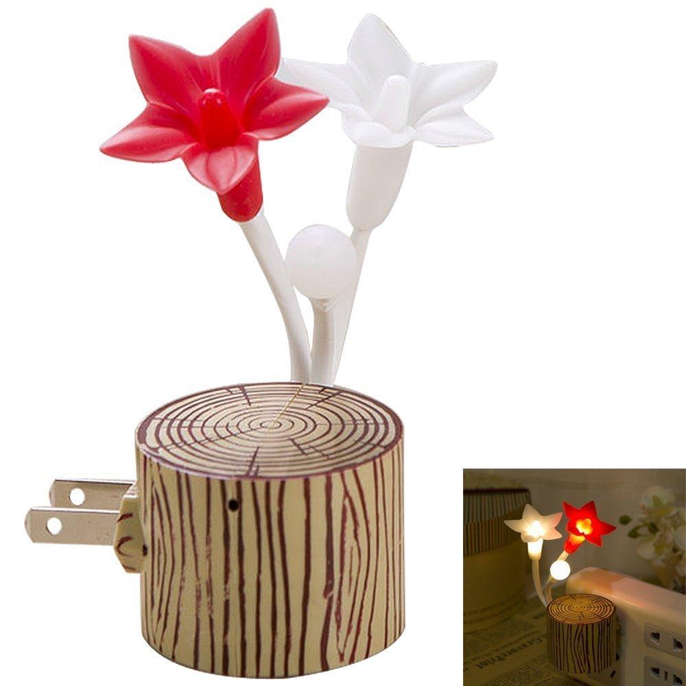 Stapelia Night Light with Plug Night Light Sensor Kids Light, Night Lights for Kids,Bedside Lamp Energy Saving LED Night Light Warm Yellow (Flower)