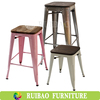 Stackable Counter Stool Outdoor Used Old Finishing and Wood Seat Metal Bar Stools