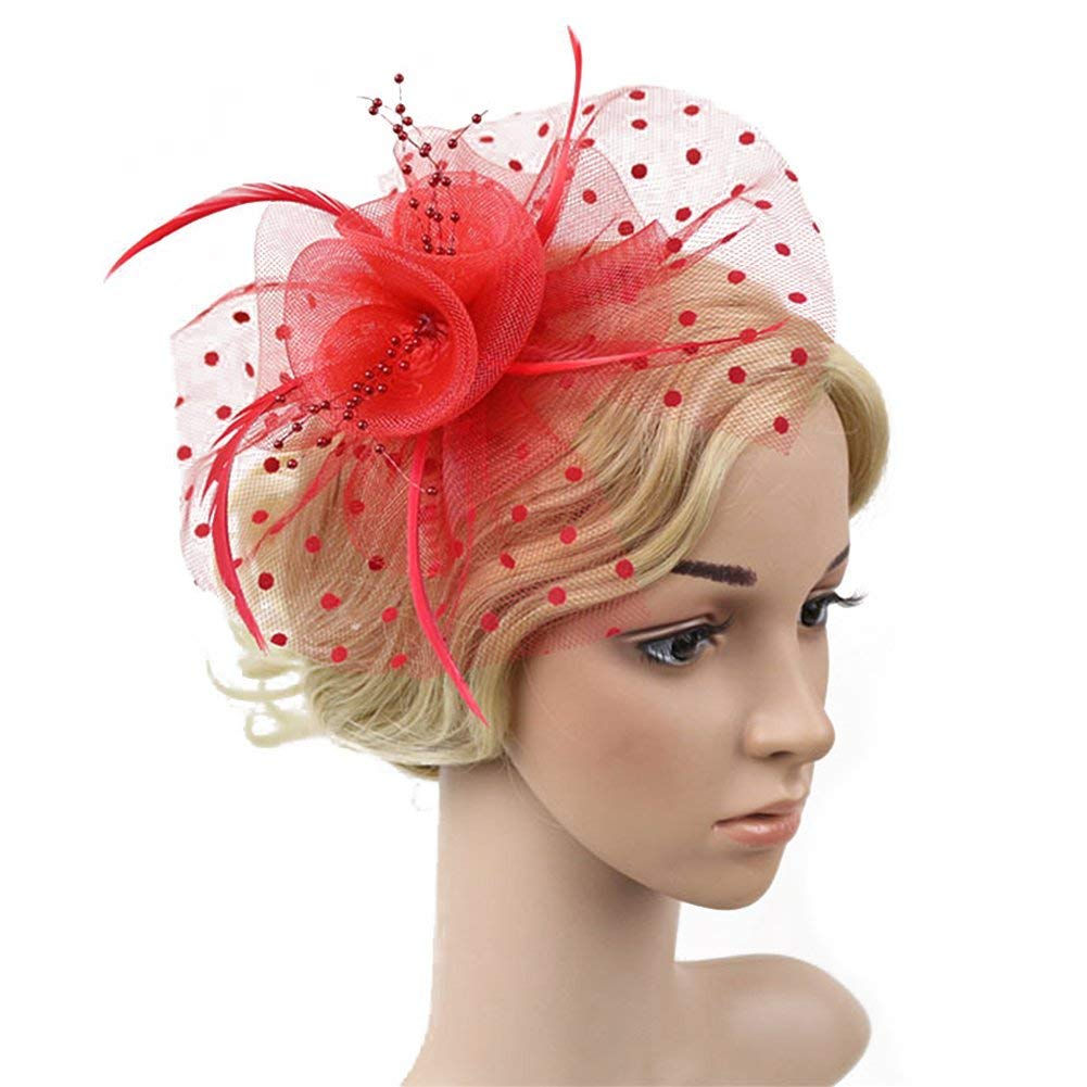 Fascinator Dot Feather Veil Hair Clip,Mesh Ribbons Feathers Hair Clip,Women Flower Feather Net Hat Mini Hair Clip For Wedding Party Banquet,Big Flower Mesh Bow Feather Hair Clip(17cm,red)