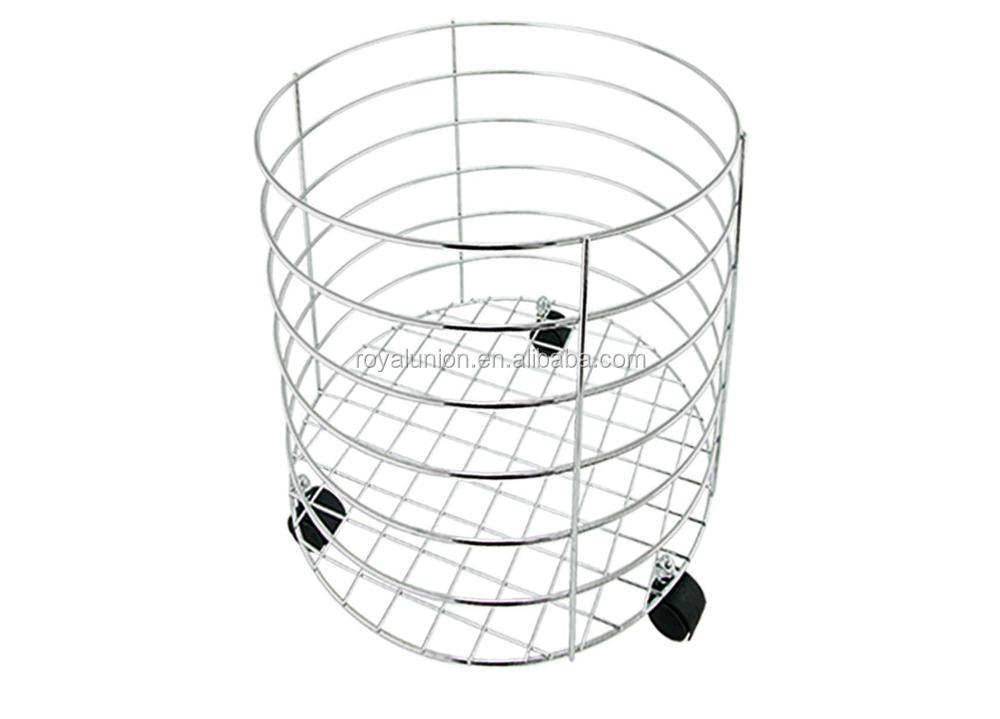 metal wire metal laundry basket with wheel