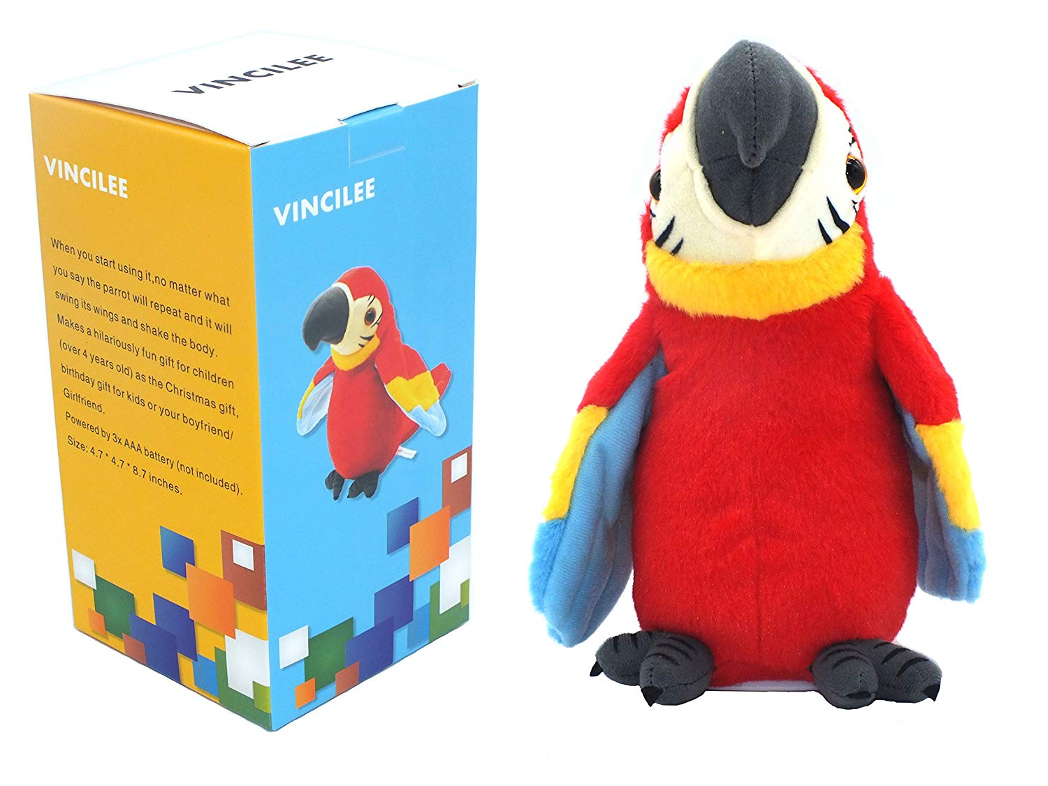 Get Quotations · vincilee Talking Parrot Repeat What You Say Mimicry Pet Toy  Plush Buddy Parrot for Children Gift 4716a008cf