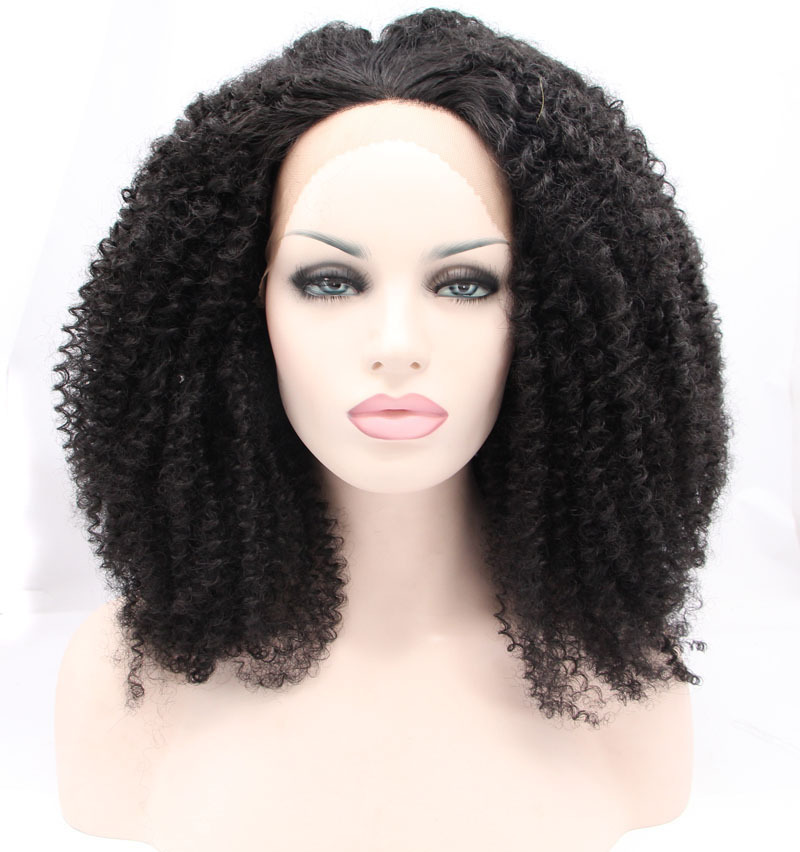 hot sales synthetic kinky curly wig lace wig synthetic hair  for women heat resistant wigs free shipping in stock