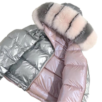 White Duck Feather Puffer Coat Down Jacket Coat /Lady Shiny Real Fox Fur Collar Double Face Silver Winter Women Duck Down Jacket
