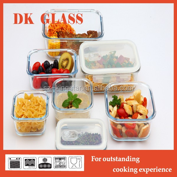 rectangular airtight heat resistant glass food container bento lunch box with safe glass