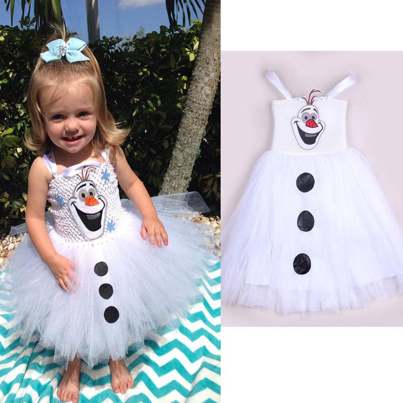 2015 Cartoon Snowman Olaf Costume Girls Baby Tulle font b Fancy b font Gown Tutu font