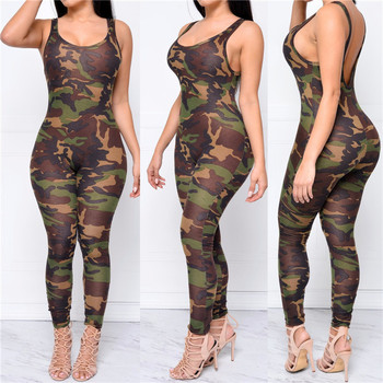 New Arrival Latest Fashion Camo Bodycon Jumpsuit Bandage Backless New Design Ladies Jumpsuit