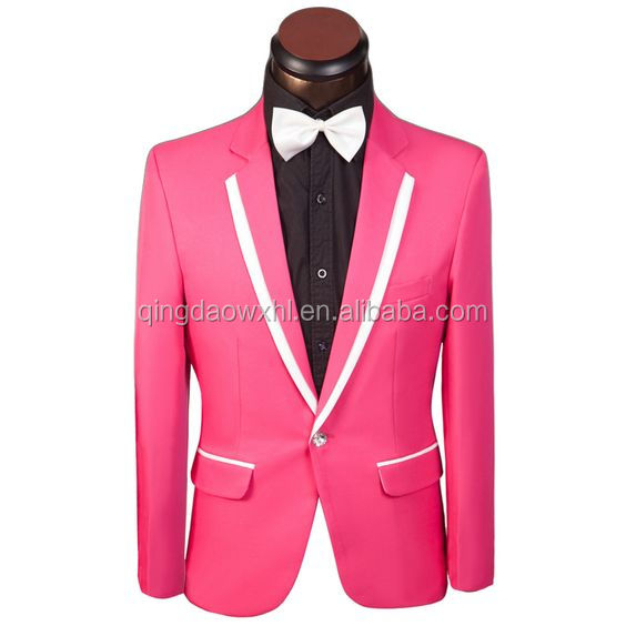 2017 New Arrival Men Pink Suit Brand Men Slim One Button Prom ...