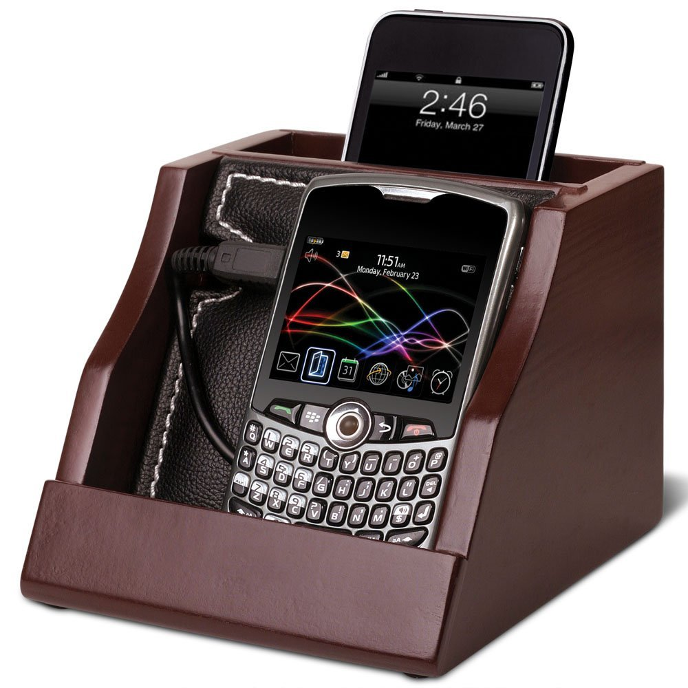 e2ed159cc0ca Get Quotations · Caleb Cell Phone Mobile Device Charging Station Valet -  Dark Brown Wood