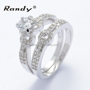 Bridal set round brilliant cut Engagement Ring Wedding band 14K Solid White Gold
