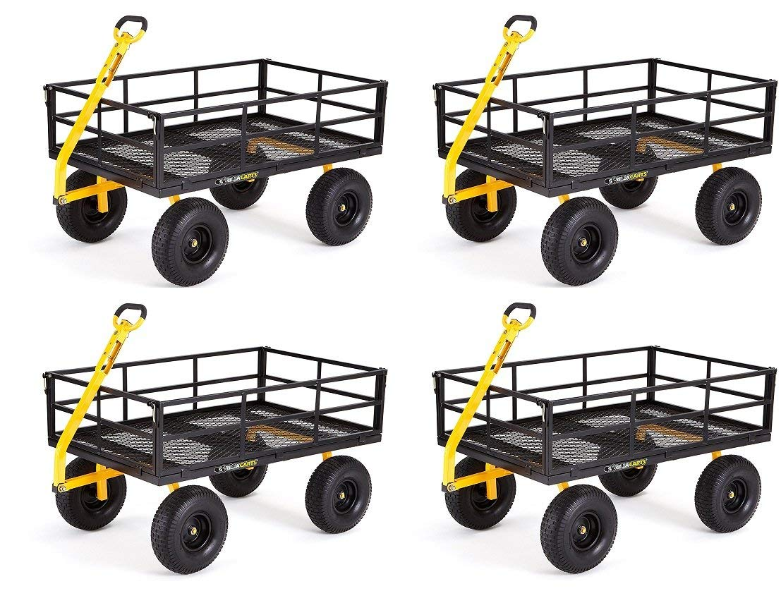 "Gorilla Carts GOR1400-COM Heavy-Duty Steel Utility Cart with Removable Sides and 15"" Tires, 1400-lbs. Capacity, Black (Pack of 4)"