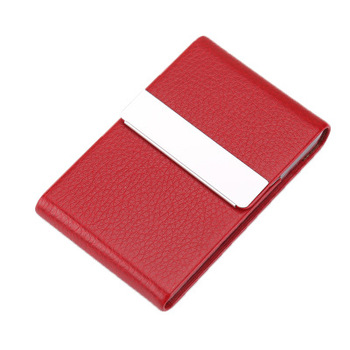 Holds 20 business cards Personalized Women Slim PU Leather Business Card Holder red color