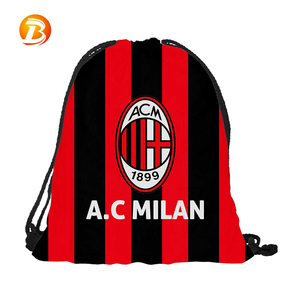 Custom AC Milan flag printed backpack polyester personalized drawstring bag