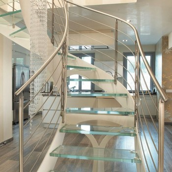 Beau Modern Laminated Glass Curved Staircase Stainless Steel Railing Cost