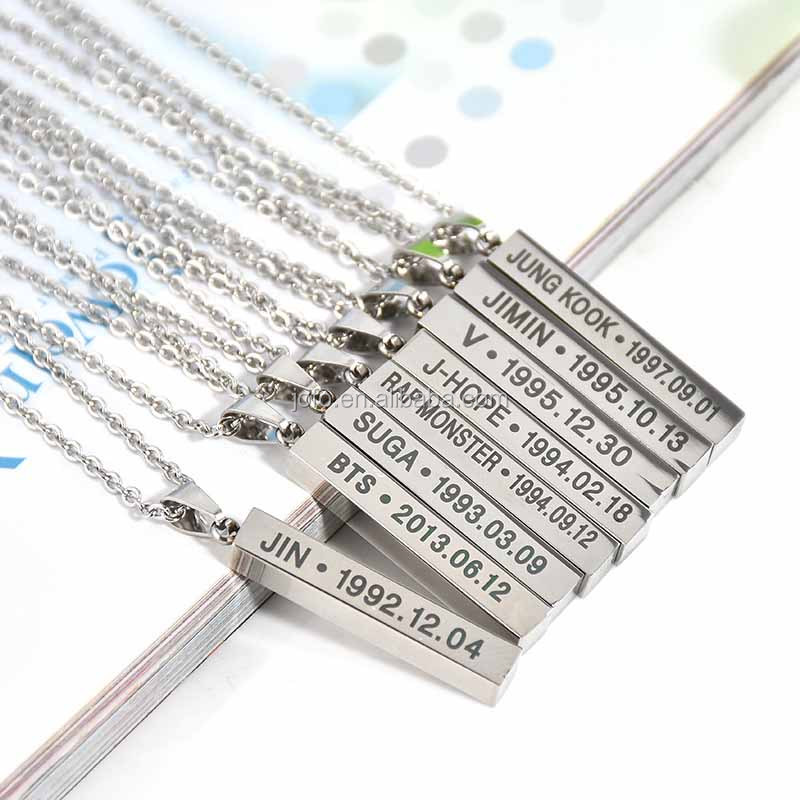 3YK-029 Fashion Necklace 2017 Accessories Simple Custom Personalised Name Titanium Bar Necklace