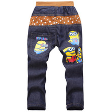 Kids 2015 Fashion Minion Clothes Girl/Boys Jeans For Children Slim Casual Pants