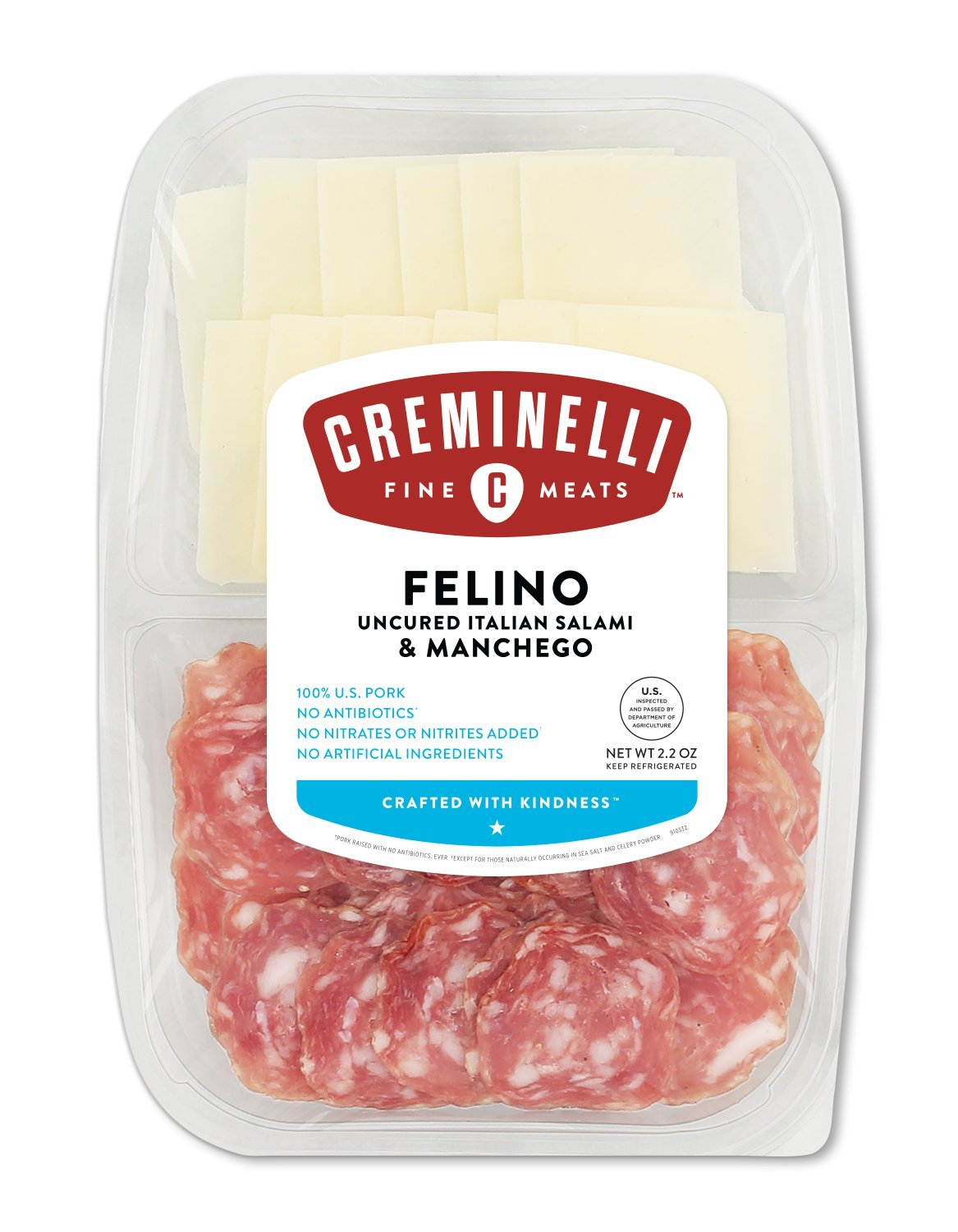 Creminelli Sliced Itallian Felino Salami with Manchego Cheese, Nutmeg and Pepper Flavored, Sandwich Meat, Deli Meat, Fermented & Aged Salami and Machego Cheese From Spain, 2.2 oz