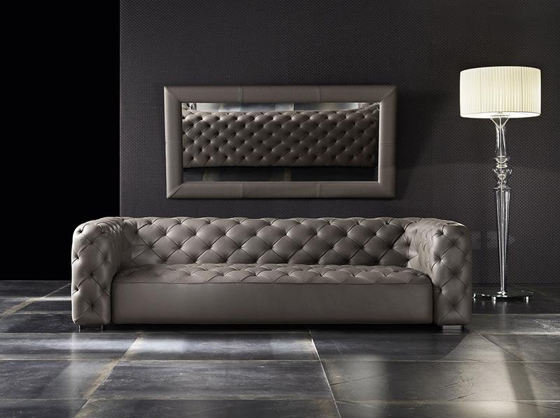 Modern Italian Living Room Sofas Tufted Genuine Leather Sofa