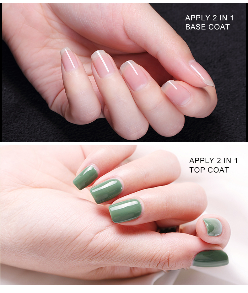 best supplier top and base coat gel nails 2 in 1 nail polish 34 years manufacture OEM/ODM your private label