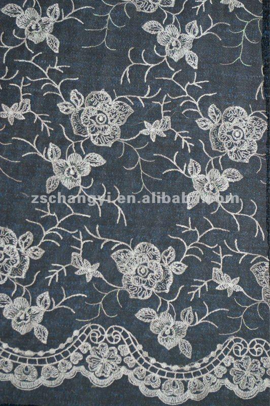 Marfil de tela de encaje chantilly tul de malla bordado de - Chantilly telas ...