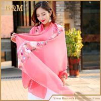 2017 new hot embroidered silk scarf solid color silk women scarf