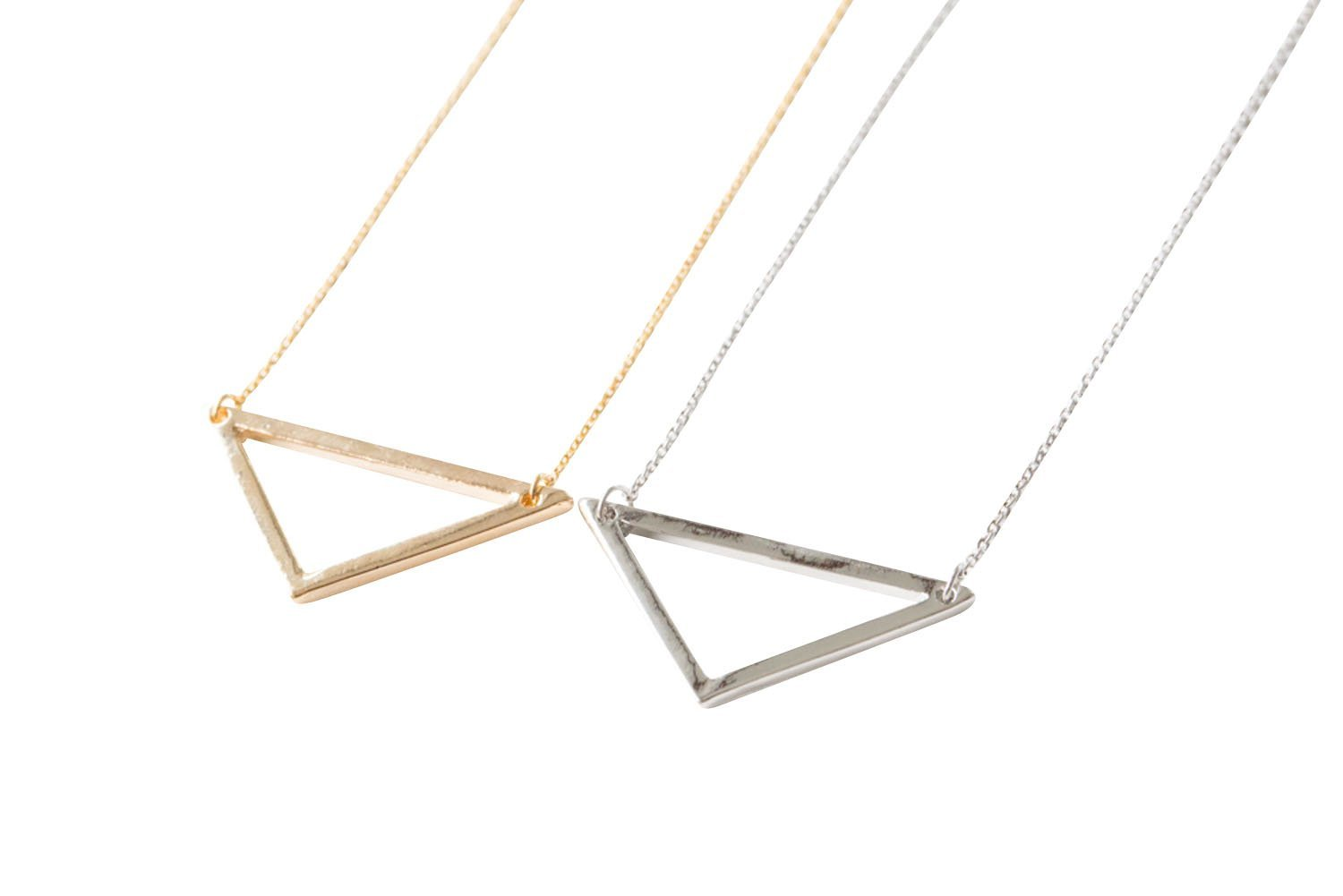 Upside Down Open Triangle Necklace-eo , triangle jewelry, triangle necklace, triangle shape jewelry, triangle shape necklace, triangle jewellry, geome