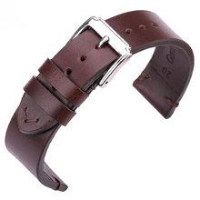 Ремешки для наручных часов из воловьей кожи 18 мм 20 мм 22 мм Мужские и женские винтажные ремешки для часов с пряжкой из нержавеющей стали(Китай)
