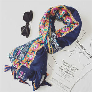 Retro Style Cotton And Linen Scarf Chinese Style Shawl Magic Cashew Flowers Ethnic Custom Spring 2017 Scarf