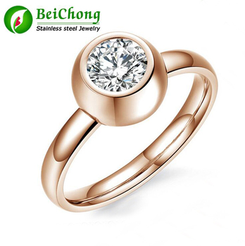 High Polished Stainless Steel Rose Gold Ringfashion Cz Diamond Ring Clit Ring Jewelry