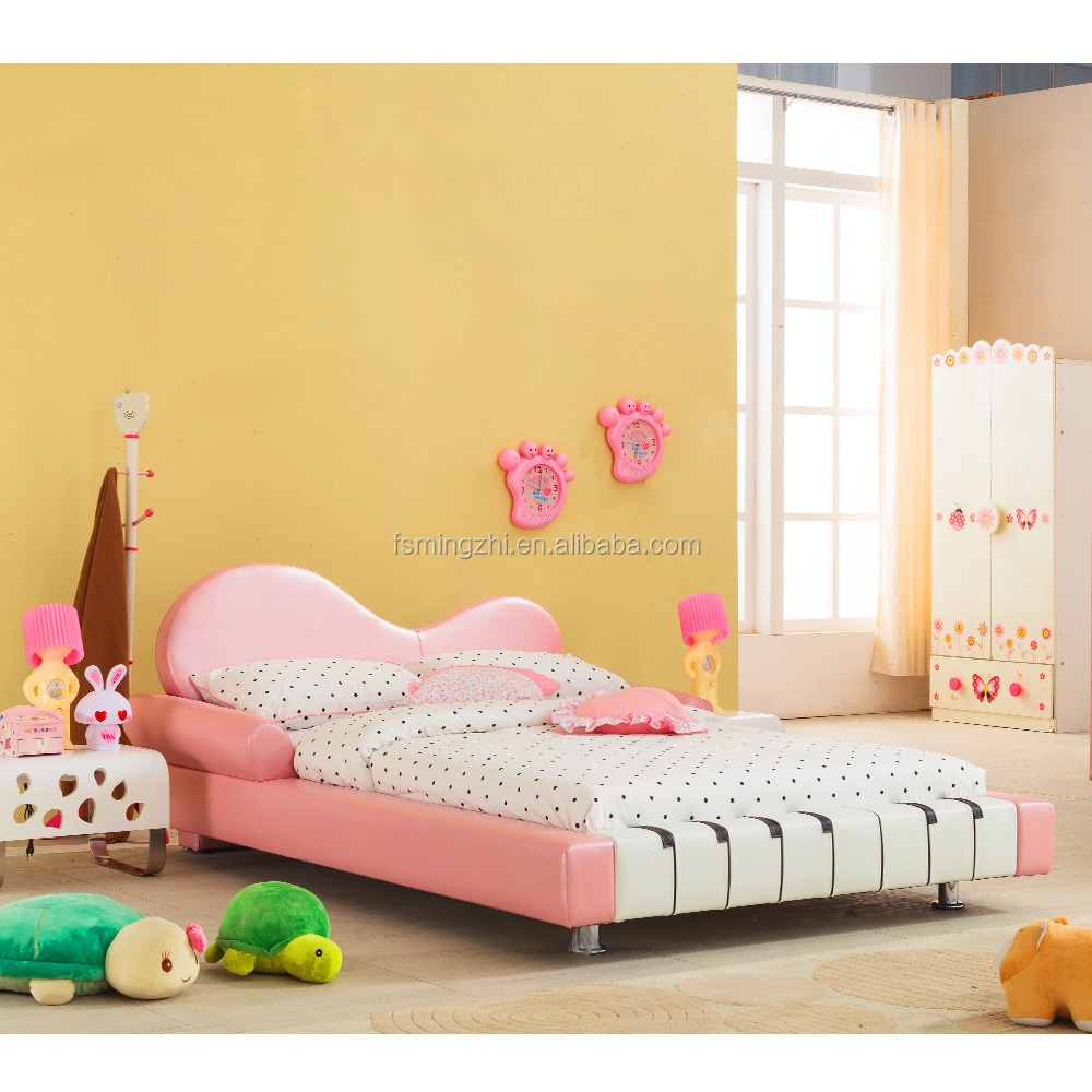 Pink Piano Shape Children Leather Bed for Girls AE0029-1