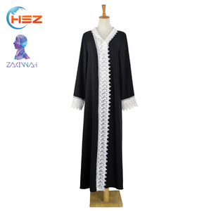 Zakiyyah E002 Formal Black Color in Abaya Latest Designs Burqa Wrapped Cardigan Pictures of Long Sleeve Muslim Dress