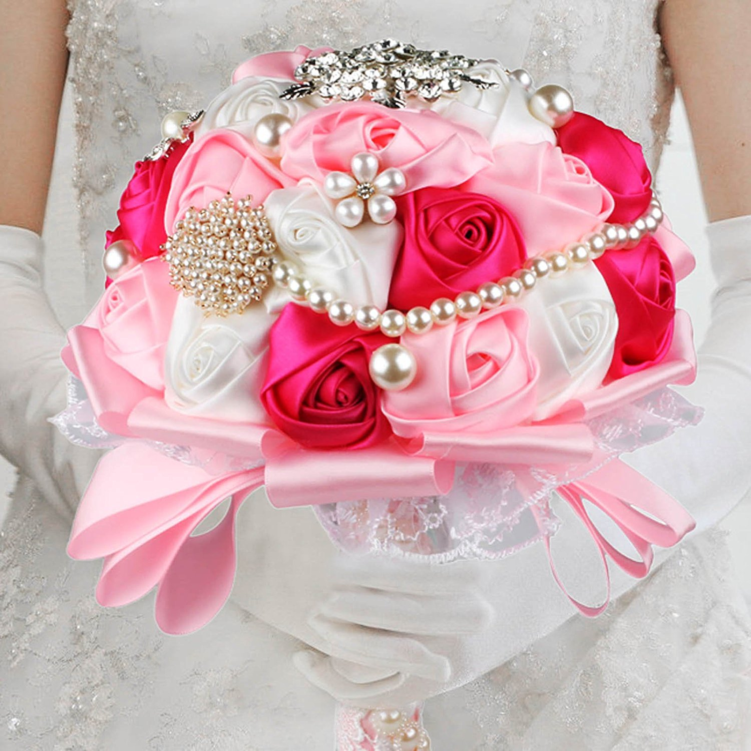 Cheap how to make satin flower bouquet find how to make satin get quotations vlovelife advanced wedding bridal bridesmaid holding bouquet artificial satin rose flower handmade posy pearl rhinestone diamonte izmirmasajfo