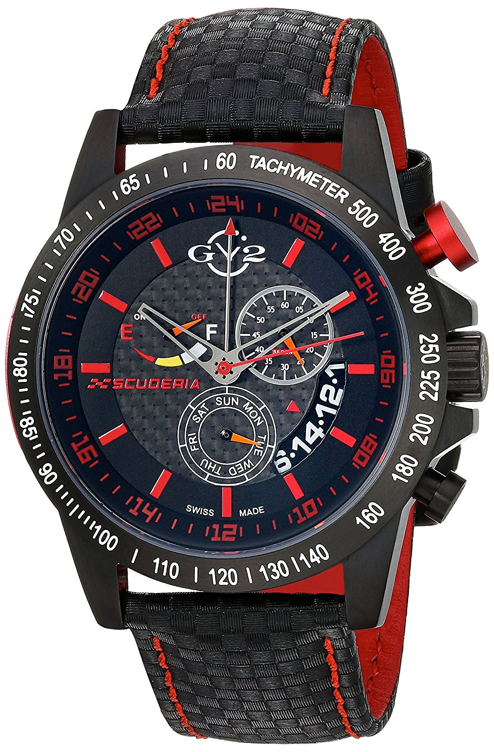 GV2 by Gevril Scuderia Mens Chronograph Swiss Quartz Alarm GMT Black Leather Strap Sports Racing Watch, (Model: 9903)