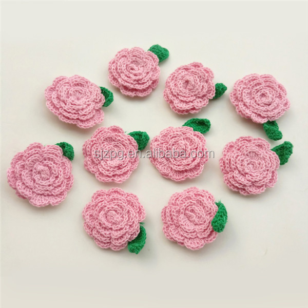 Ideas De Regalo Ganchillo Rosa Boda Flor Con Hoja Applique - Buy ...