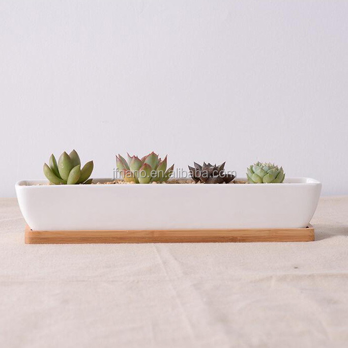 Rectangle white ceramic indoor large decorative planters