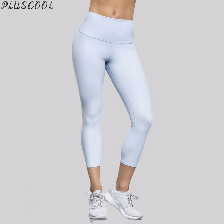 wholesale breathable white fitness tights 87% nylon with 13% spandex girls capri