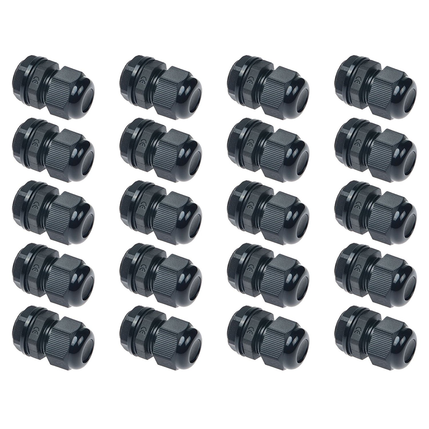 Saim Cable Glands PG7 Plastic Waterproof Adjustable Cable Glands Joints for Cable Wire 3-6.5mm Dia Pack of 20