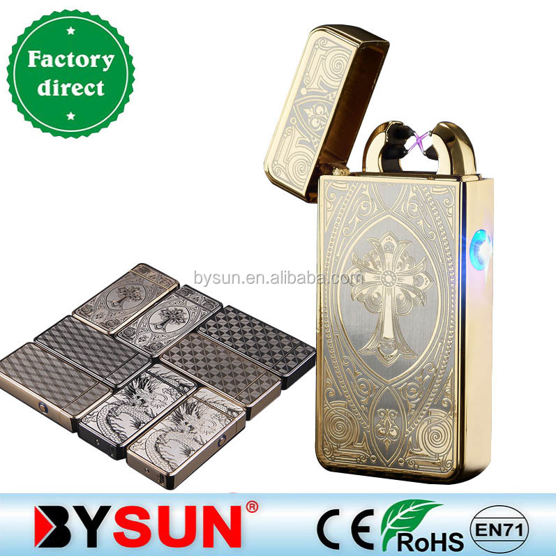 BS-1370 Multi color double arc pulse electronic usb lighter with light rechargeable