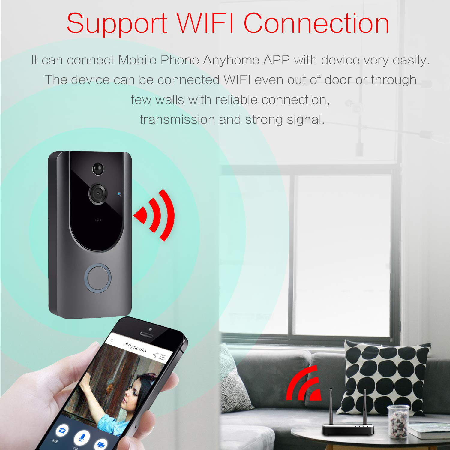 HD 720P long range wireless doorbell intercom PIR motion detection night vision video wifi smart doorbell ring