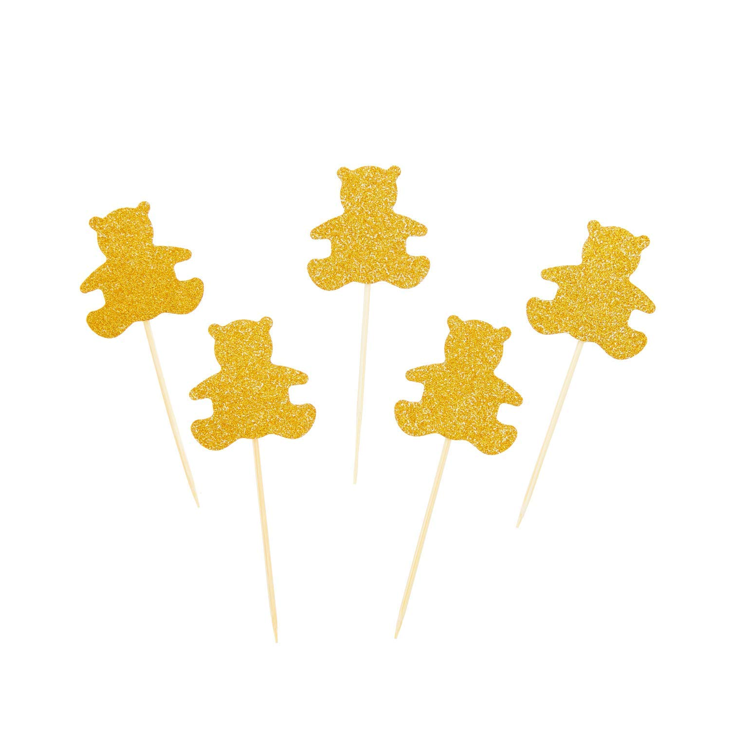24 Pcs of Glitter Gold Bear Cupcake Toppers for Kids Babies Birthday Party Baby Shower Party Brial Shower Wedding Cake Decorations