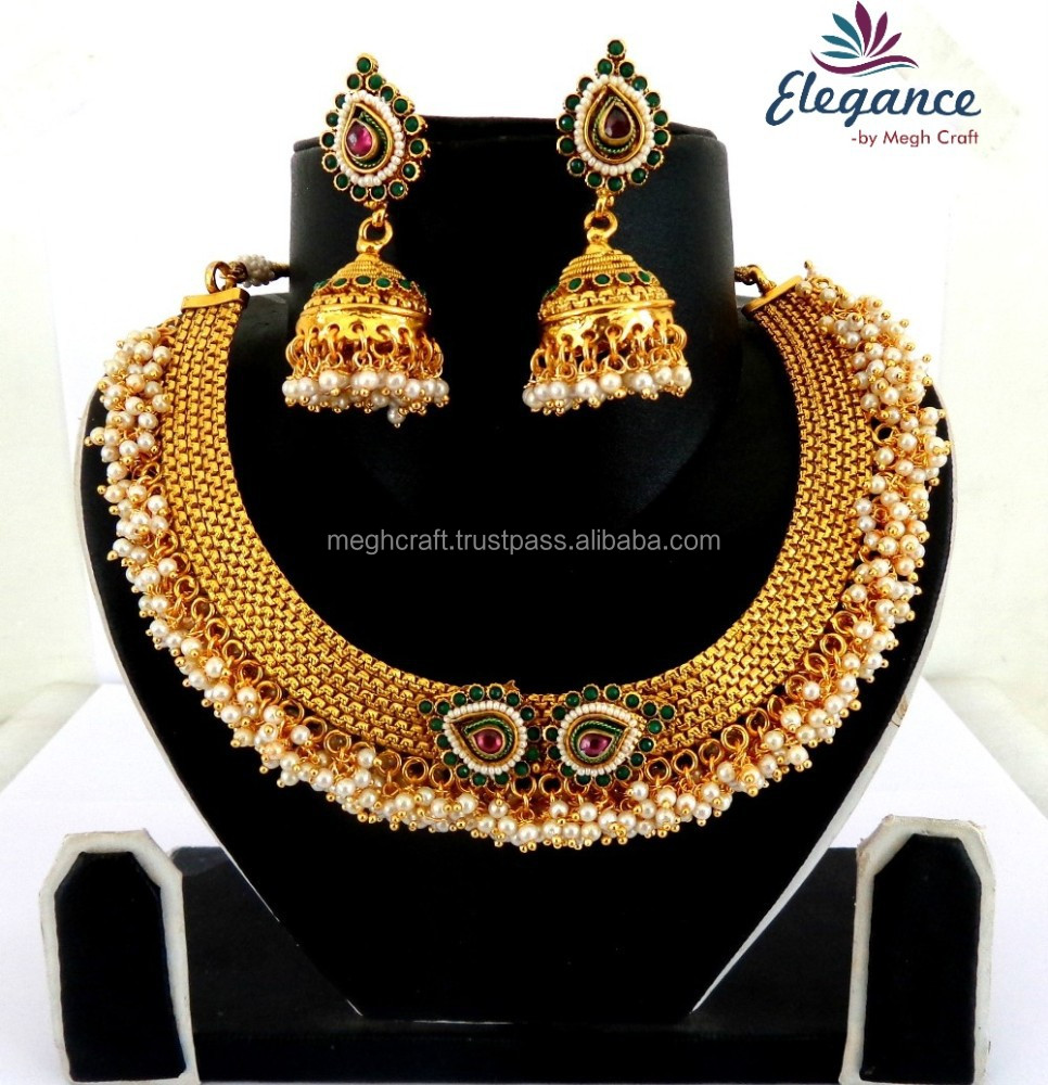 53809aee1 Indian bridal necklace set - One gram gold plated necklace set - Wholesale  bridal necklace set - Designer gold plated set