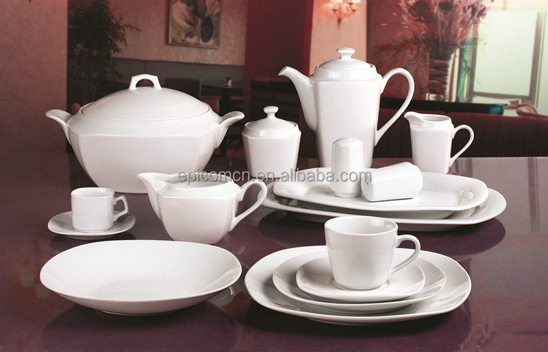Super White Square Serving Dishes Plain White Porcelain