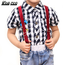 Fabric polyester elastic suspenders for kids red online
