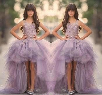 ZH1322Q Lavender High Low Girls Pageant Gowns Applique Tiered Lace Ruffle Purple Tulle train Flower Girl Dresses For Weddings